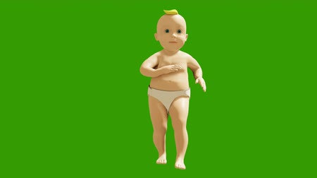 jóvenes discoteca : A little baby is dancing merrily on the background of a green screen. 3D visualization, animation of a dancing child. Looped animation.