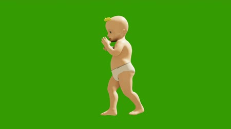 kleine meisjes : A little baby is dancing merrily on the background of a green screen. 3D visualization, animation of a dancing child. Looped animation.