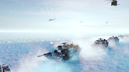 турель : Military tanks and military helicopters move on a clear winter day on the battlefield.
