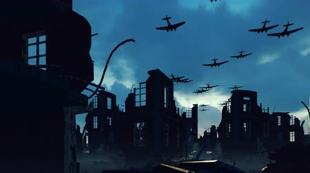 bojiště : An Armada of military aircraft flies over the ruins of a ruined deserted city.