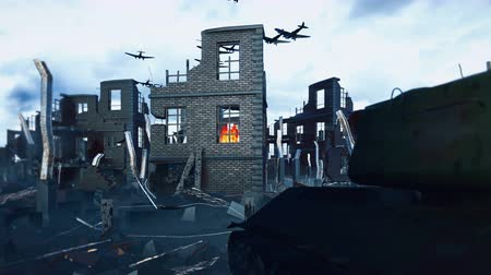 destroyed building : A military tank stands on the ruins and an Armada of military aircraft flies over the ruins of the destroyed deserted city.