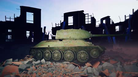 two forces : A military tank stands on the ruins of a ruined deserted city. Stock Footage