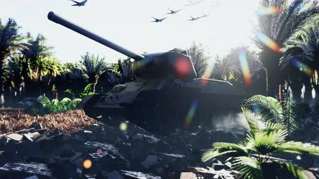 bojiště : A military tank stands on the ruins in a deserted tropical jungle, and an Armada of military aircraft flies overhead.