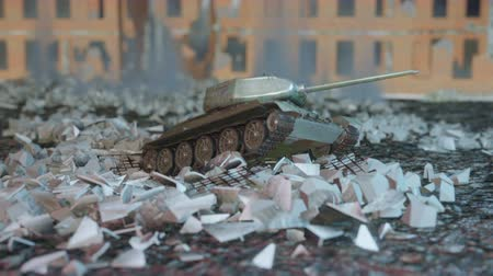druhé světové války : A world war II military tank stands on the ruins of a ruined abandoned city. A high-quality cinematic video. Dostupné videozáznamy