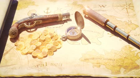 cartografia : Pirate compass with pistol and spyglass lie on the treasure map. Pirate treasure and old pirate map on pirate island.