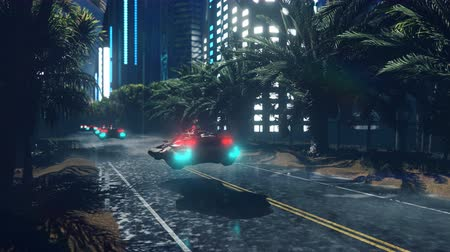 Futuristic sci-fi flying cars fly over the night wet highway, through the night city. The concept of the future.