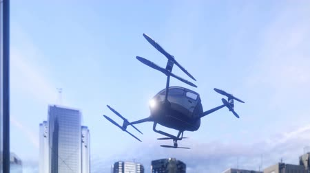 A unmanned passenger drone has flown in for its passenger. The concept of future unmanned aerial taxis. 3D rendering of animation.