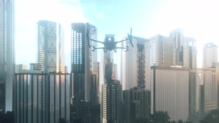 An unmanned passenger drone flies over the city. Unmanned air taxi. 3D rendering of animation.