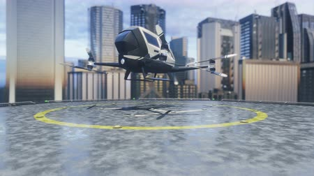 ротор : Pilotless passenger drone makes a departure for the call of the client. The concept of the future unmanned air taxi. 3D rendering of animation. Стоковые видеозаписи