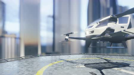 Pilotless passenger air taxi makes a departure for the call of the client. The concept of the future unmanned taxi. 3D rendering of animation. 影像素材