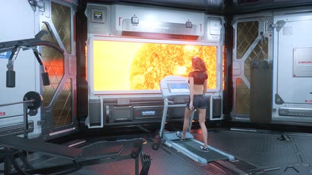 In the gym on a futuristic spaceship, a beautiful athlete runs on a treadmill in front of a porthole overlooking a burning star.