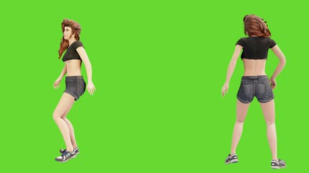A young beautiful woman is engaged in sports exercises. 3D animation of wellness concept in front of green screen. 影像素材