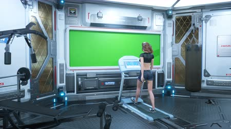 In the gym on a futuristic spaceship, a beautiful athlete runs on a treadmill in front of a porthole with a green screen.