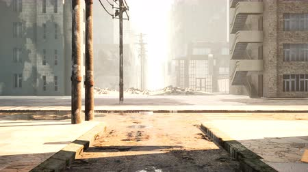 catástrofe : A deserted post-apocalyptic city. The camera flies through the empty ruined city. Deserted post-apocalyptic street in the ruins of buildings. The Concept of The Apocalypse. Looped animation