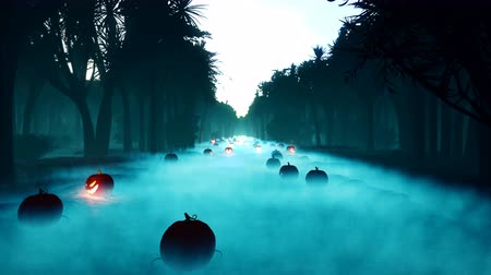 Glowing pumpkins, dark forest, Halloween celebration. Night landscape with a mystical fog, glowing a terrible pumpkins in a foggy night in a forest. Horror and Halloween concept.