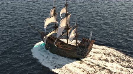 docked : A medieval ship sailing on a vast blue sea. Concept of sea adventures in the Middle ages.