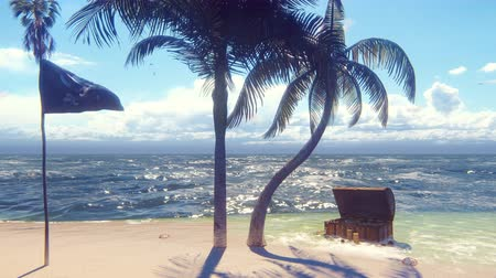 crânio : Sand, sea, sky, clouds, palm trees and summer day. Pirate island, chest of gold and pirate flag fluttering in the wind. Beautiful loop background.