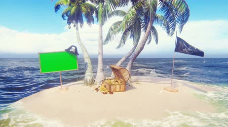 crânio : Sand, sea, sky, clouds, palm trees, sharks and summer day. Pirate island, a chest of gold, a wooden banner with a green screen and a pirate flag fluttering in the wind. A beautiful background loop.