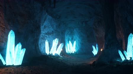 sincelo : Blue mystical cave with the magic of sparkling crystals. Stock Footage