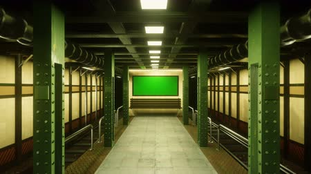 apocalyptic : Flying the camera through a mystical deserted subway to a poster with a green screen. Post-Apocalypse, metro apocalyptic metro.