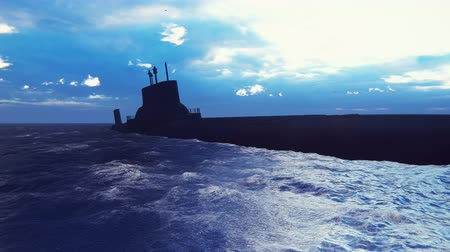 charges : Silhouette of a nuclear submarine near a deserted tropical island.