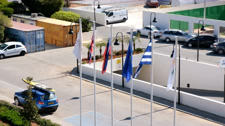 all european flags : Various flags waving in the wind in the morning in the ancient Greek city of Limassol
