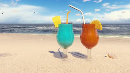 Beautiful glasses with cocktails on the sandy beach, washed by the ocean wave. Beautiful loop 3D animation.