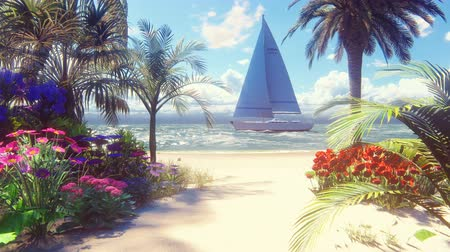 muszla : Beautiful yacht swims past the beautiful beach, washed by the ocean wave. Beautiful loop 3D animation. Wideo