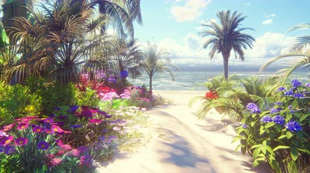 muszla : A beautiful beach with beautiful flowers and trees growing on it, blue sky and white sand washed by the ocean wave.