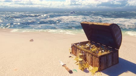 kutu : An open wooden pirate chest filled with gold coins and diamonds lies on the shore of a lost tropical island. Beautiful loop background. Stok Video