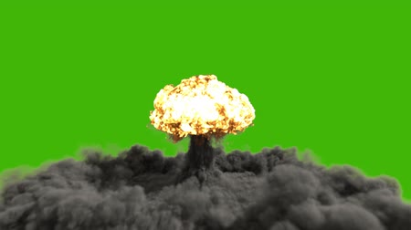 The explosion of a nuclear bomb. Realistic 3D animation of atomic bomb explosion with fire, smoke and mushroom cloud in front of a green screen. Wideo