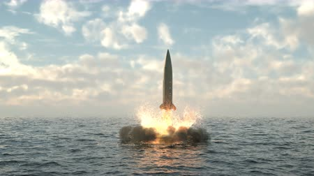 dinamik : Launching a missile from under water from a submarine. Detailed realistic animation with dynamic fire exhaust, smoke and spray. Stok Video