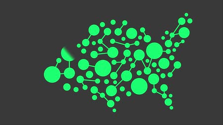 государство : USA Green Map Networking Motion Graphic HD Стоковые видеозаписи