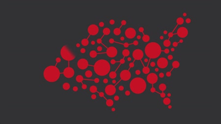 USA Red Map Networking Motion Graphic HD Wideo