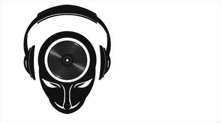 kalça : DJ Musical Mind with Headphones and Vinyl Playing. Motion Graphic 1080 HD Stok Video