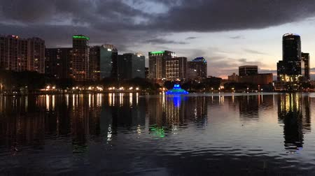 Orlando, Florida City Downtown Sunset in Lake Eola Park, Time Lapse