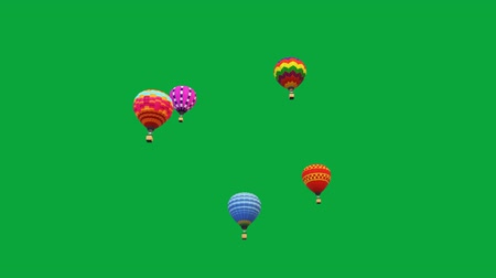 Flying hot air balloons motion graphics with green screen background