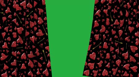 Shining red hearts curtain opening with green screen background