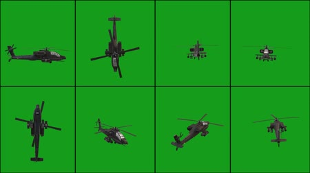 Flying helicopter in different positions with green screen background Vídeos