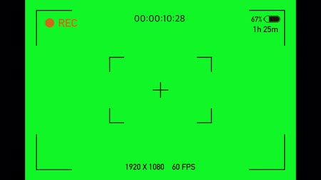 Camera viewfinder. Camera Recording Screen with alpha channel in loop mode. Chromakey background.