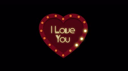 i love you : Valentine s Day background animation with alpha channel. Stock Footage