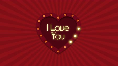 i love you : Valentine s Day background. Retro light sign. Heart shape. Stock Footage