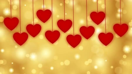 prapor : Red hearts fall from above on a golden background.