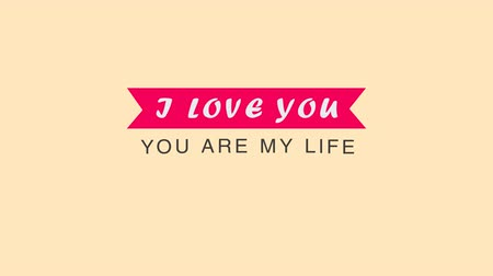 amor : Greeting wedding card with Alpha channel. I love you. You are my life. Dostupné videozáznamy