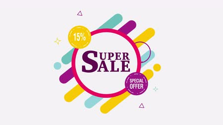 százalék : Super Sale motion tag. 15% off. Alpha channel.