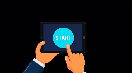 realization : Animation of START. Alpha channel. Horizontal orientation of the tablet with button START. Stock Footage