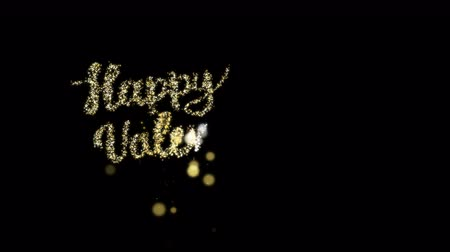 typographie : Paillettes d'or lettrage Happy Valentines Day. Vidéos Libres De Droits