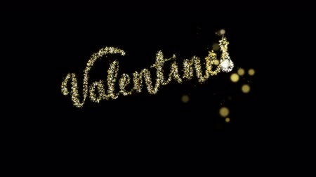 kaligrafia : Gold glitter sign Valentines Day. Wideo