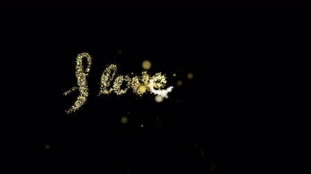 kaligrafia : I Love You gold glitter sign with golden sequins Wideo