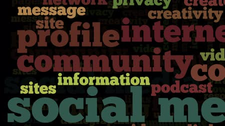 illustrazione : Il video concettuale di tag cloud contenente parole legate ai social media, marketing, blog, social network e Internet, sottolineando le parole selezionate, su sfondo nero